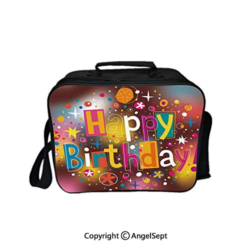Fashion Custom Lunch Bag Tote Bag,Colorful Fun Graphic Lettering with Stars Dots Daisies Blur Background Multicolor 8.3inch,Lunch Organizer Lunch Holder For Unisex Adults