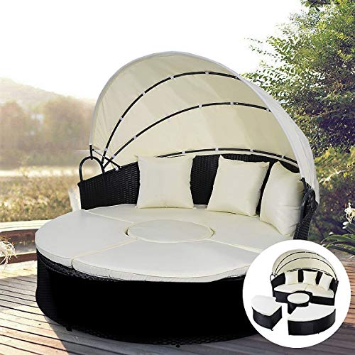Lucky-gift - 2-in-1 Outdoor Patio Rattan Round Retractable Canopy Daybed - Patio Outdoor Daybed Rattan Bed 2 Garden Wicker - Day Lounger Sun Lounge Canopy Vidaxl Sunlounger Furniture Person Poly Doubl (Cast Sun Loungers Iron)