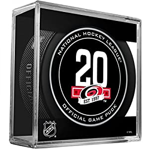 Carolina Hurricanes 20th Anniversary Sherwood Official NHL Game Puck in Cube