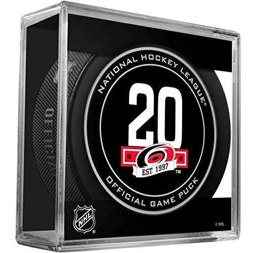 fan products of Carolina Hurricanes 20th Anniversary Sherwood Official NHL Game Puck in Cube