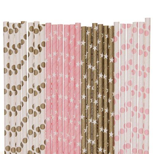 Biodegradable Paper Straws Mix, Light Pink And Gold, Polka Dot Star ()