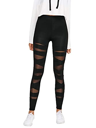 de2b51c3cfac11 BLINKIN Black Criss Cross Half Translucent Yoga and Gym Leggings Tights for  Women   Girls (