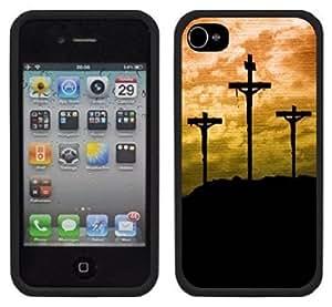 3 Cross Crosses Jesus Christian Handmade iPhone 4 4S Black Case hjbrhga1544
