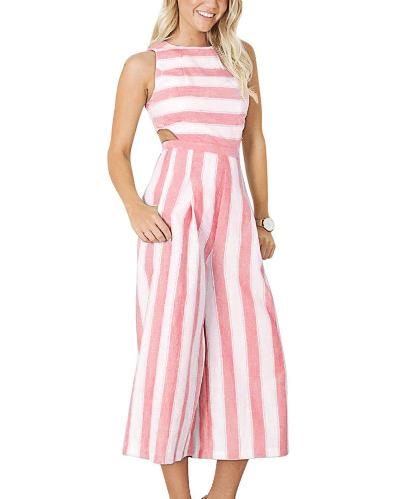 BELONGSCI Women Jumpsuit Summer & Autumn Outfits Stripe Print Sexy Sleeveless Long Jumpsuit Romper Zipper Back Casual Style