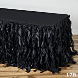 Efavormart 17ft Enchanting Curly Willow Taffeta Table Skirt for Kitchen Dining Catering Wedding Birthday Party Events - Black