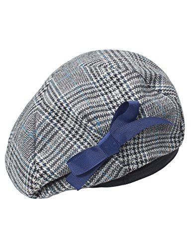 Dahlia Women's Velvet Lined Wool Blend Beret Bow Decorated Painter Plaid - Blue