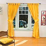 Indo Yellow Tab Top Sari Sheer Curtain (43 in. x 84 in.) with matching tieback For Sale