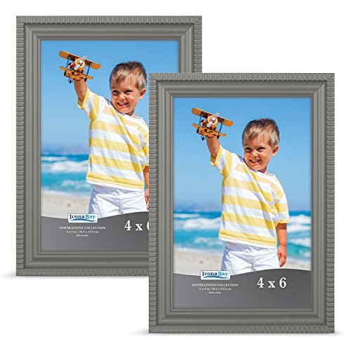 Icona Bay 4x6 Picture Frames Set (Set of 2), Gray Frame, Photo Frame Set for Wall or Table Top, Photo Frames 4x6 Set, Inspirations Collection