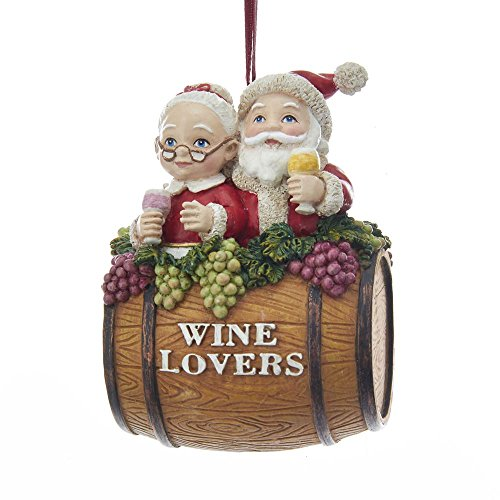 Kurt Adler Mr. & Mrs. Claus Wine Lover Barrel ()