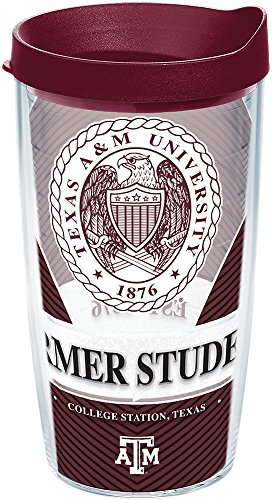 - Tervis 1234690 Texas A&M Aggies Alumni Insulated Tumbler with Wrap and Maroon Lid, 16 oz - Tritan, Clear
