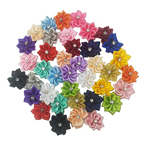 (Tianying 40 Pack Satin Ribbon Flowers Bows 1.1in Rhinestones Appliques Party Weddng Supply Home Decor DIY Craft (Multi-Color))