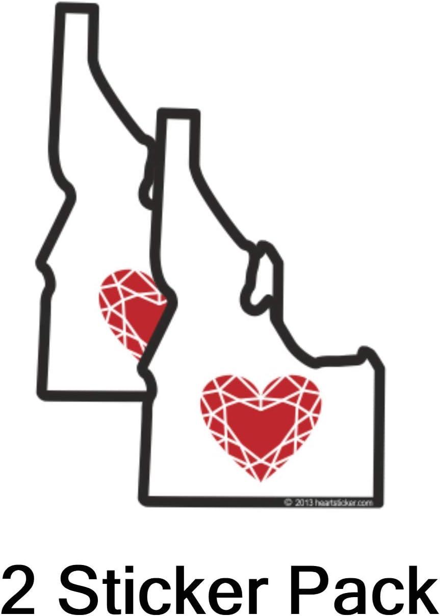 Idaho Sticker Heart in Idaho 2 Pack Small | 2.5in | 3x1.5in Waterproof | Apply Decal to Water Bottle Laptop Cooler Bumper Tumbler