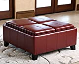 Leather Storage Ottoman Square Dark Red Coffee Table with 4 Trays Large Footstool