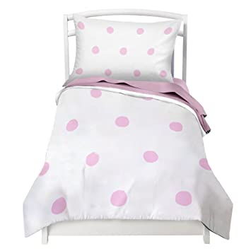 Toddler Bedding Set For Girls Pink Polka Dot Double Brushed Ultra Microfiber Toddler Bedding Set