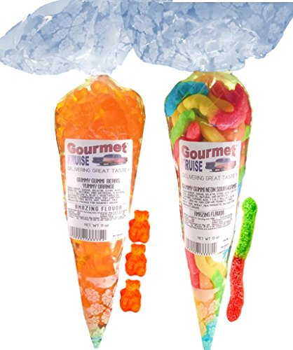 Energy Orange Gummy Gummi Bears And Sour Worms (NET WT 21 OZ) Gourmet Kruise Signature Gift Bags