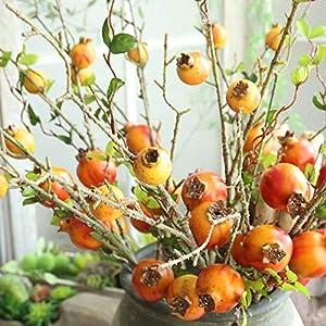 MARJON FlowersNew Merry Christmas Fake Artificial Rose Fruit Pomegranate Berries Bouquet Floral Garden Home Decor (Orange) 3