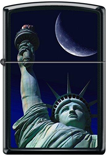 Zippo Statue of Liberty at Night Moon Light Black Matte Windproof Lighter NEW ()