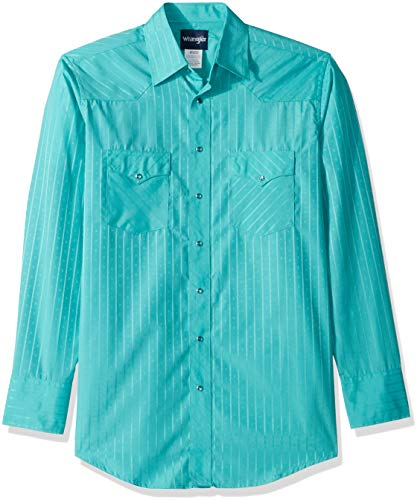 Tall Stripe Western Shirt - Wrangler Men's Size Tall Sport Western Snap Shirt in Dobby Stripe, Turquoise, LT