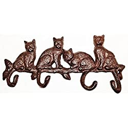 Aunt Chris' Products - Heavy Cast Iron - Four Cats Sitting On A Branch - 4 Hooks Made From Tails - Rustic Color Finish - Stationary Wall Hanger - Use Indoor Or Outdoor!