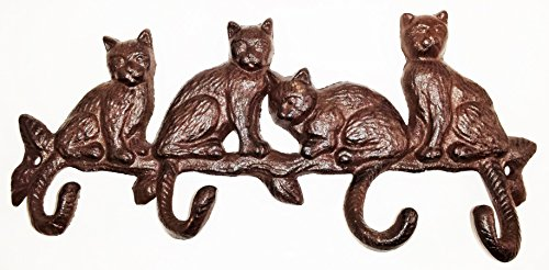 aunt-chris-products-heavy-cast-iron-four-cats-sitting-on-a-branch-4-hooks-made-from-tails-rustic-col