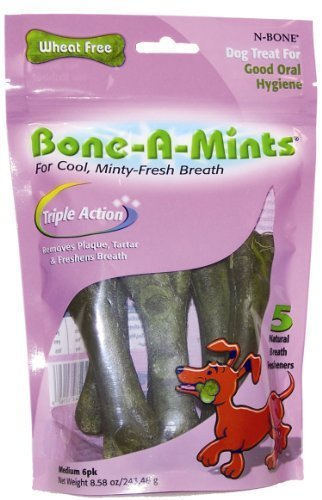 Bone-A-Mints All natural, Wheat-Free Breath Freshening Bone, 8.58-Ounce, Medium, 6-Pack by N-Bone [Pet Supplies]