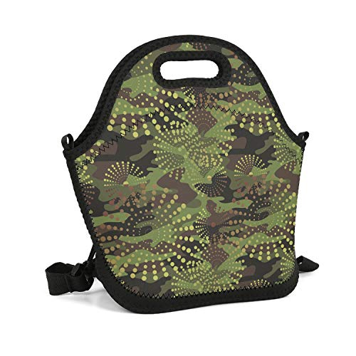 (HailinED Green Jungle Digital Camo Portable Lunch Box Insulated Lunch Bag Reusable Carry Boxes Cooler Tote Bag for School Work Office Picnic Gym)
