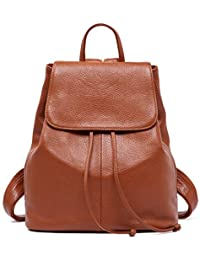 BOYATU Genuine Leather Backpack Purse for Women Fashion Anti-Theft Travel Bag Caramel