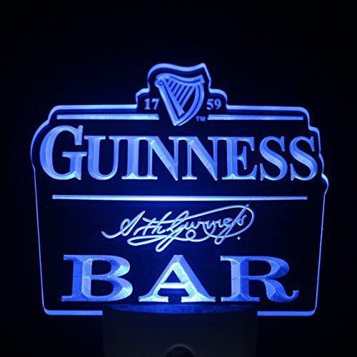 L'amazo Guinness Bar Beer Home Bar Room Decor Day/Night Sensor Led Night Light Sign (BLUE) (Blue)