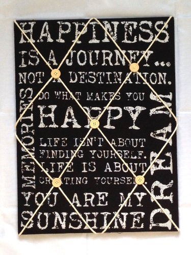 Vintage Quote Padded Notice Pin Fabric Memo Board Black With White Writing Kitchen (White Fabric Pin Board)