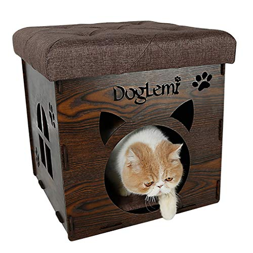 (2 in 1 Foldable Cat Ottoman Stool, Small Dog Rabbit Condo Bed Cat Cube Pet House, Square Footstool with lid and PU Leather Cushion (Color : Brown))