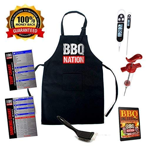 NEW ITEM- BBQ NATION GIFT SET- Grilling Apron, Digital Meat Thermometer, Meat Injector, Compact Grill Scraper, Meat Temperature Chart, Meat Smoking Chart For Grilling, Smoking, BBQ Cooking, RV Cooking ()