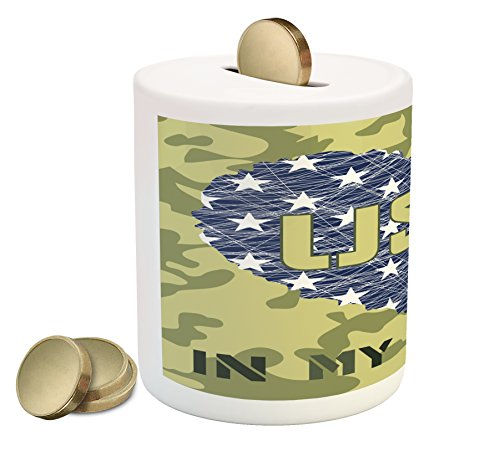 - Lunarable National Piggy Bank, Heart Shaped American Flag Military and Grunge Style Illustration Art, Printed Ceramic Coin Bank Money Box for Cash Saving, Sage Green and Khaki