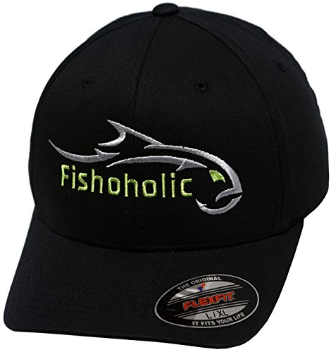 Fishoholic Baseball Fishing Hat ~ 6 Colors & 3 Sizes. Angry Fish Logo on Trucker Snap Back or Flexfit ~ Fishaholic USPTO (R) TM ~ Saltwater Fly Fish Bass Trout -