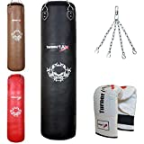 TurnerMAX Genuine Cowhide Leather Boxing Punch Bag Heavy FILLED with Free Chain and Bag Gloves Kickboxing punching bag Black (5 Feet)