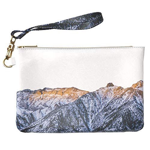 Lex Altern Makeup Bag 9.5 x 6 inch Snow Capped Mountain Range Sunrise Aerial View Design Print Purse Pouch Cosmetic Travel PU Leather Case Toiletry Women Zipper Bathroom Wristband Girly -