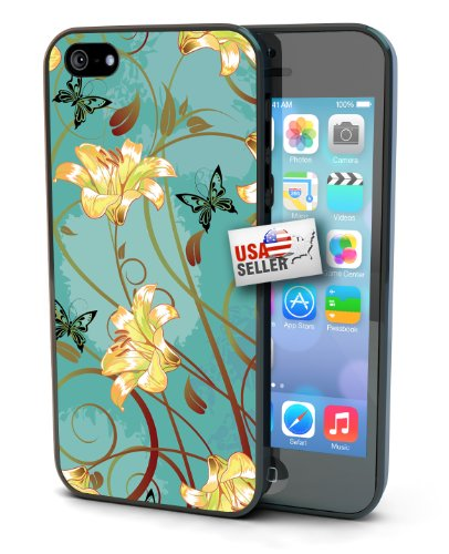 Flowers and Butterfly Design Black Plastic Cover Case for iPhone 4 or 4s