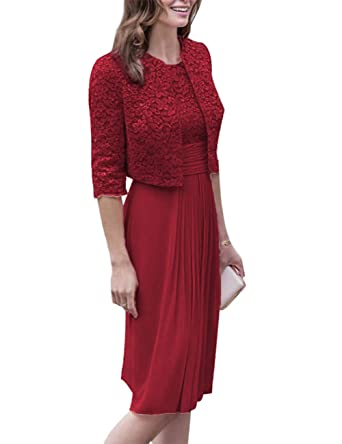 b2f9b43d4b Women s Chiffon Mother of The Bride Dress with Lace Jacket Half Sleeve Formal  Evening Dresses Burgundy