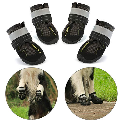 - Hcpet Dog Boots Paw Protector, Set of 4 Waterproof Anti-Slip Soft Dog Shoes Reflective Magic Straps Medium Large - Black (8#)