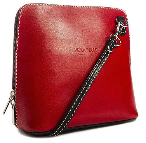 Piel italiana para pequeño Cruz Cuerpo Bolso o bolsa de hombro, azul (azul) - PS14 negro, rojo