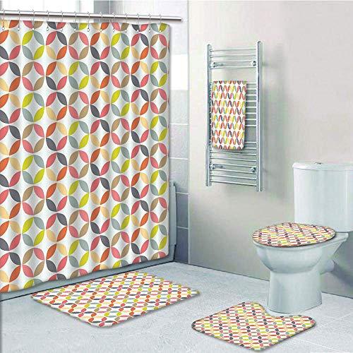 iPrint Bathroom 5 Piece Set Shower Curtain 3D Print,Geometric Circle Decor,Decorative Ornament Vintage Connected Arcs Intersecting Centre Discs,Multi,Bath Mat,Bathroom Carpet Rug,Non-Slip,Bath -