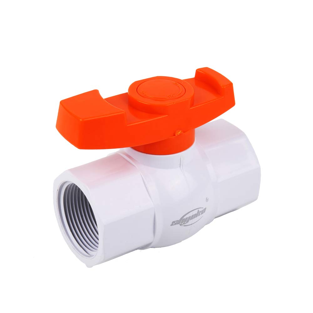 Female Thread SHYOKO 1-1//2 Inline PVC Ball Valve Compact T-Handle Water Shut Off Valves Available 1//2,3//4,1,1.25,2