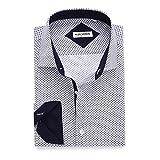Alex Vando Mens Printed Dress Shirts Regular Fit Casual Button Down Shirt(White,XX Large)