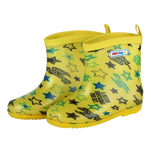 Baby Rain Shoes, Amiley Kids Children Baby Boy Girls Star Letter Print Rain Shoes Waterproof Boots Shoes (US:8/Age:2.5-3T, Yellow)