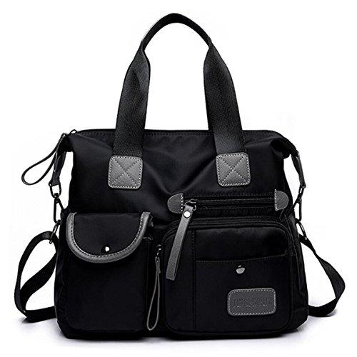YouNuo Women's Top Handle Handbag Nylon Laptop Crossbody Bag Water Resistant Tote Shoulder Bags - Shoulder Bag Lined Fully Cotton