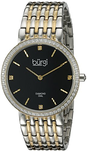 Burgi Women's BUR138TTG Diamond & Crystal Accented Black Dial Silver and Yellow Gold Bracelet Watch
