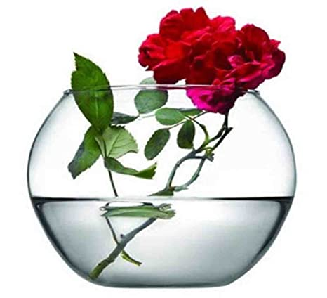 Jarrón pecera de cristal 12cm con tres rosas preservadas