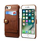 Wallet Case for iPhone 8 7 6 Apple 4.7 inches, Leather Cover Credit ID Card Holder Slim Brown Shell