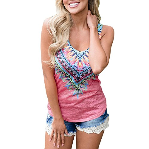 (Women Fashion Casual Sleeveless National Wind Print Tee Blouse Top T-Shirt Vest)