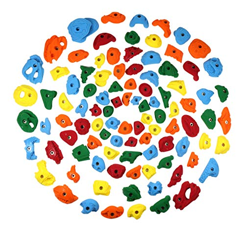Atomik Climbing Holds 100 Pack Rock-Like Bolt On Climbing Holds - Includes Jugs, Pinches and Crimps - Assorted Bright Tones