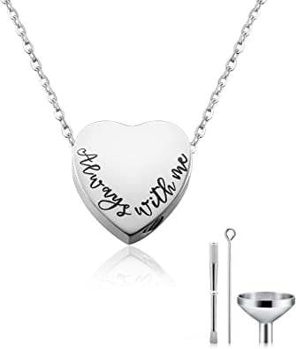 Cat Eye Jewels Stainless Steel A Piece of mMy Heart has Wings Heart Pendant Cremation Keepsake Ash Holder Memorial Urn Necklace for Ashes with Funnel Kit